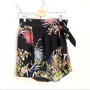 Zara Black Floral Skirt. Small.